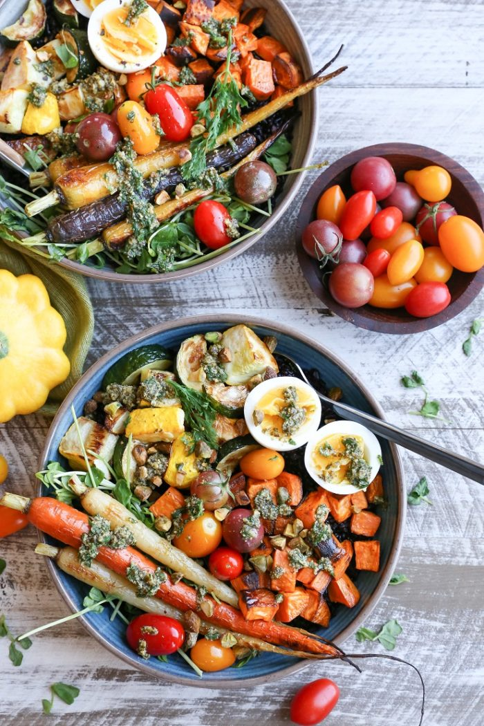 Roasted Vegetable Forbidden Rice Bowls with Carrot Top Pesto from The Roasted Root