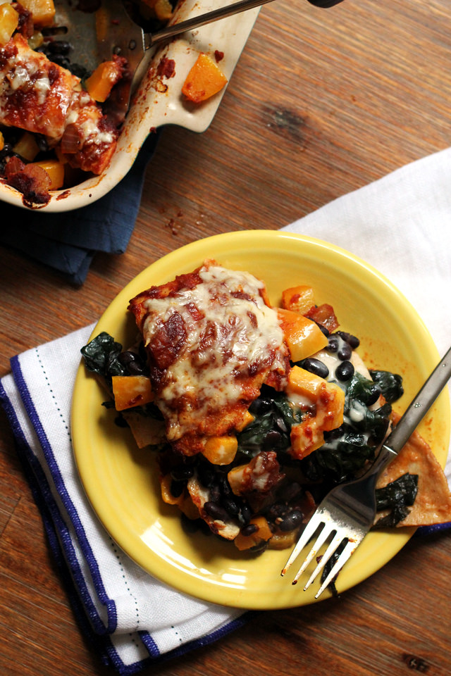 Chipotle Butternut Squash and Swiss Chard Enchilada Casserole from Eats Well With Others