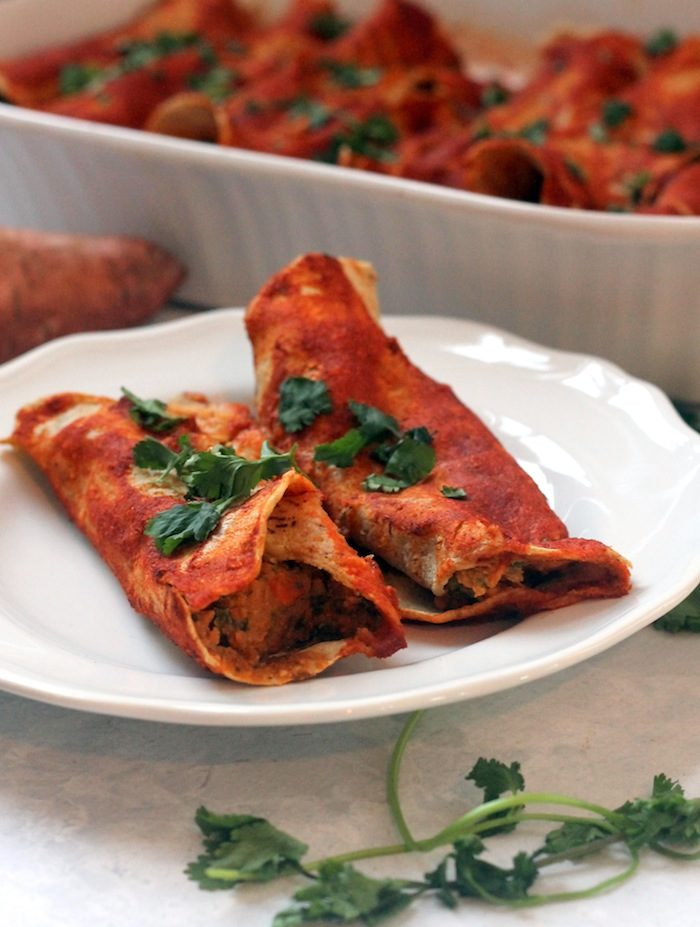 Sweet Potato Black Bean Enchiladas from Hummusapien