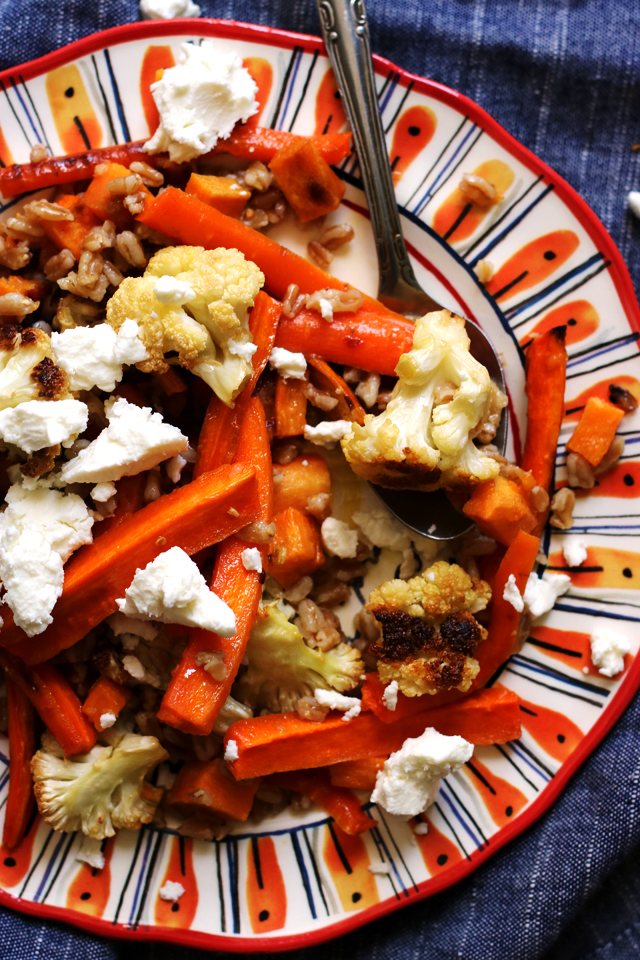 Mustardy Farro Salad with Roasted Harvest Vegetables from Eats Well With Others