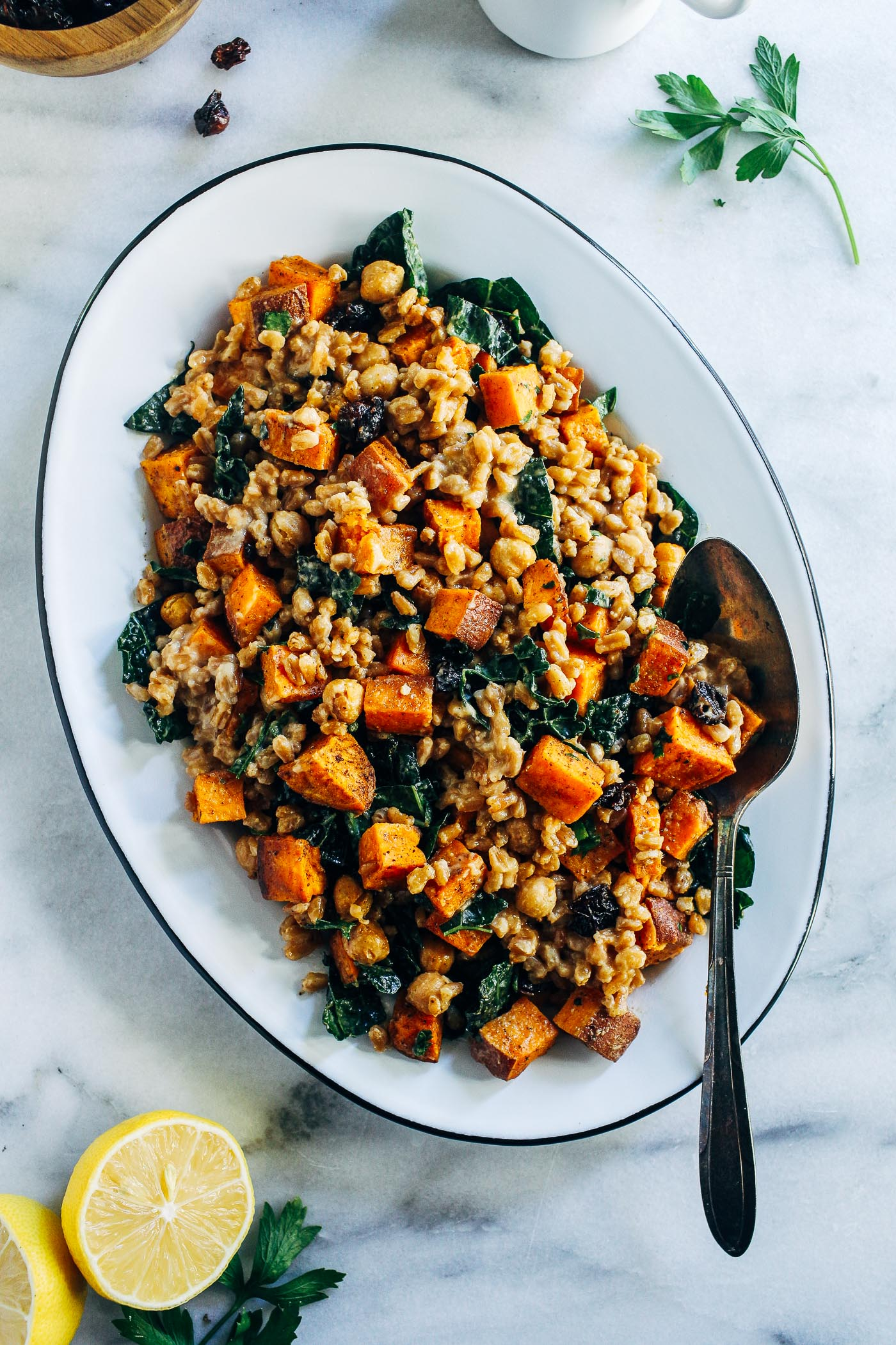 Roasted Sweet Potato Kale And Farro Salad With Lemon Tahini Dressing Making Thyme For Health