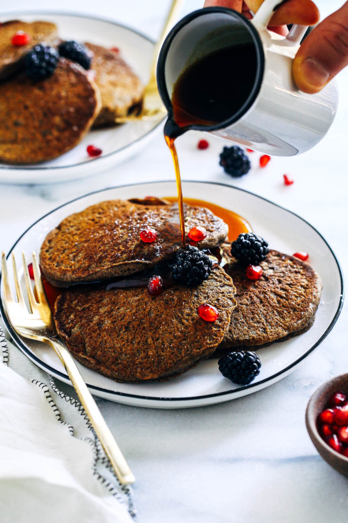 Vegan Buckwheat Gingerbread Pancakes- whole grain and naturally gluten-free, these gingerbread pancakes are sure to leave your stomach full and your taste buds happy!