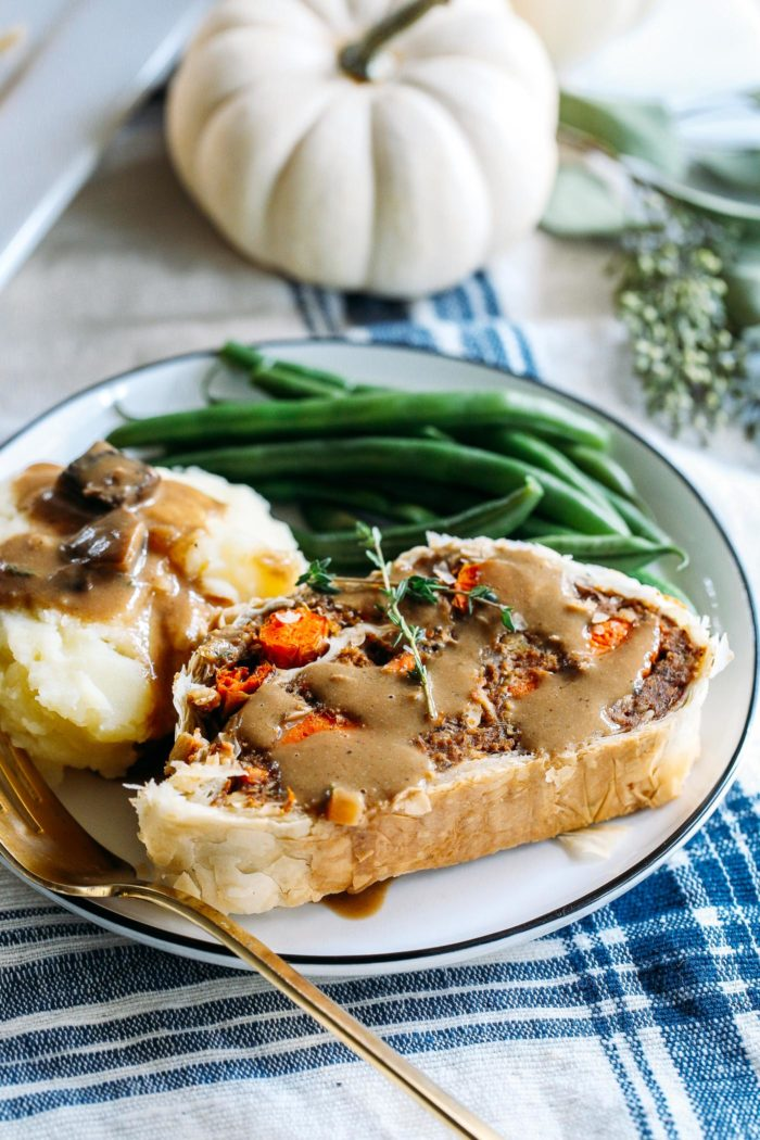 Vegan Wellington- a plant-based version of the classic beef wellington that's perfect for sharing at the holiday table. Can also be prepared the day before and cooked the day of!