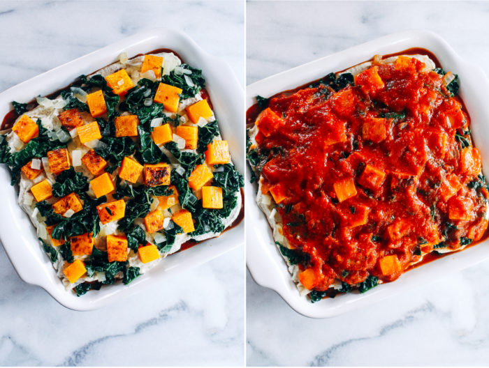 Vegan Butternut Squash and Kale Lasagna- layered with cashew ricotta and roasted butternut squash, this lasagna is sure to make for a memorable meal!