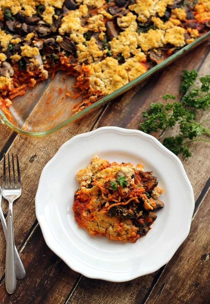 Baked Spaghetti with Kale, Mushrooms and Tofu Ricotta from Hummusapien