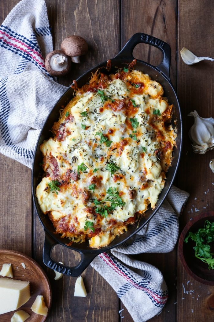 Mushroom Bolognese Spaghetti Squash Casserole from The Roasted Root