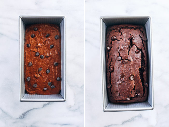 Flourless Vegan Double Chocolate Banana Bread- made in a blender with rolled oats and cocoa powder, you would never guess this banana bread is gluten-free and oil-free!