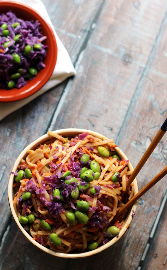 Spicy Peanut Rice Noodle Bowls from Eats Well With Others