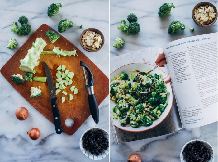 Broccoli Salad with Almonds and Cranberries- all you need is 10 ingredients to make this mayo-free broccoli salad that's bursting withtextures and flavors! (vegan + gluten-free)