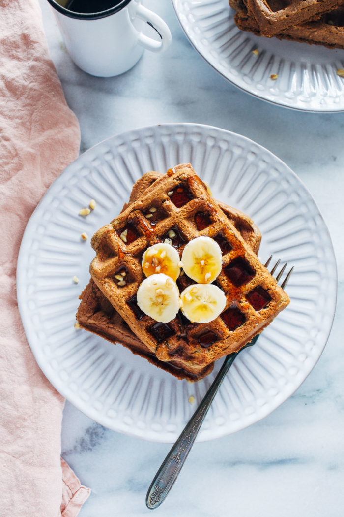 "Flourless Vegan Banana Bread Waffles | ""I've made these at least 4 times and they are delicious!!! Even my non-vegetarian and very picky parents loved them!!!! I also freeze extras in the freezer and eat them throughout the week. Thanks for sharing the recipe!"""