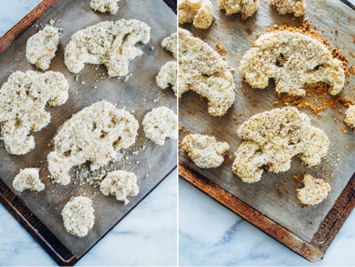 Herb Crusted Cauliflower Steaks with Romesco Sauce- thick cauliflower steaks are coated with crispy panko breadcrumbs and fresh herbs, and served with a garlicky red pepper sauce.