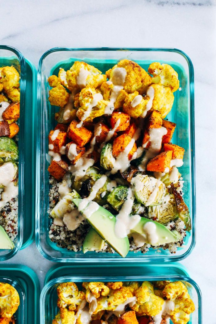 Roasted Vegetable Quinoa Meal Prep Bowls- super simple to make, these meal prep bowls are packed full of healthy vegetables and topped with a lemon tahini sauce. Whether you make them for lunch or dinner, they are sure to leave you feeling energized and satisfied! (vegan + gluten-free)