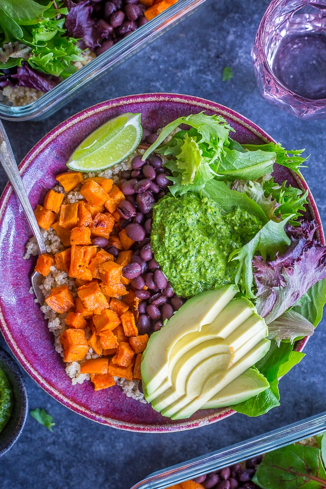 Sweet Potato and Black Bean Bowls with Cilantro Lime Pesto from She Likes Food