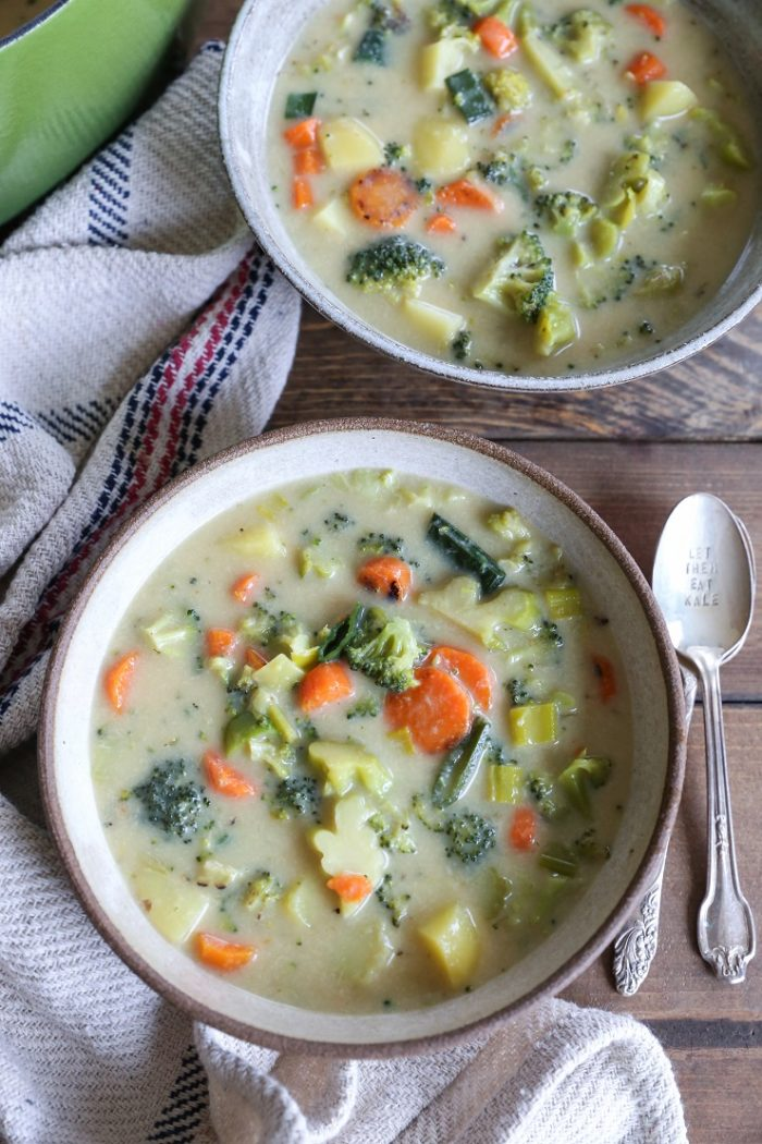 "Vegan Broccoli ""Cheddar"" Soup from The Roasted Root"