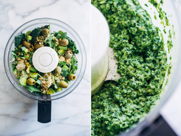 Supergreen Vegan Pesto- made with a host of nutritious superfoods, this pesto is the perfect way to sneak in a full serving of greens along with healthy fats and protein.