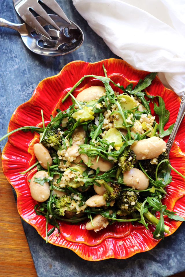 Charred Broccoli, White Bean, and Lemony Freekeh Salad from Eats Well With Others
