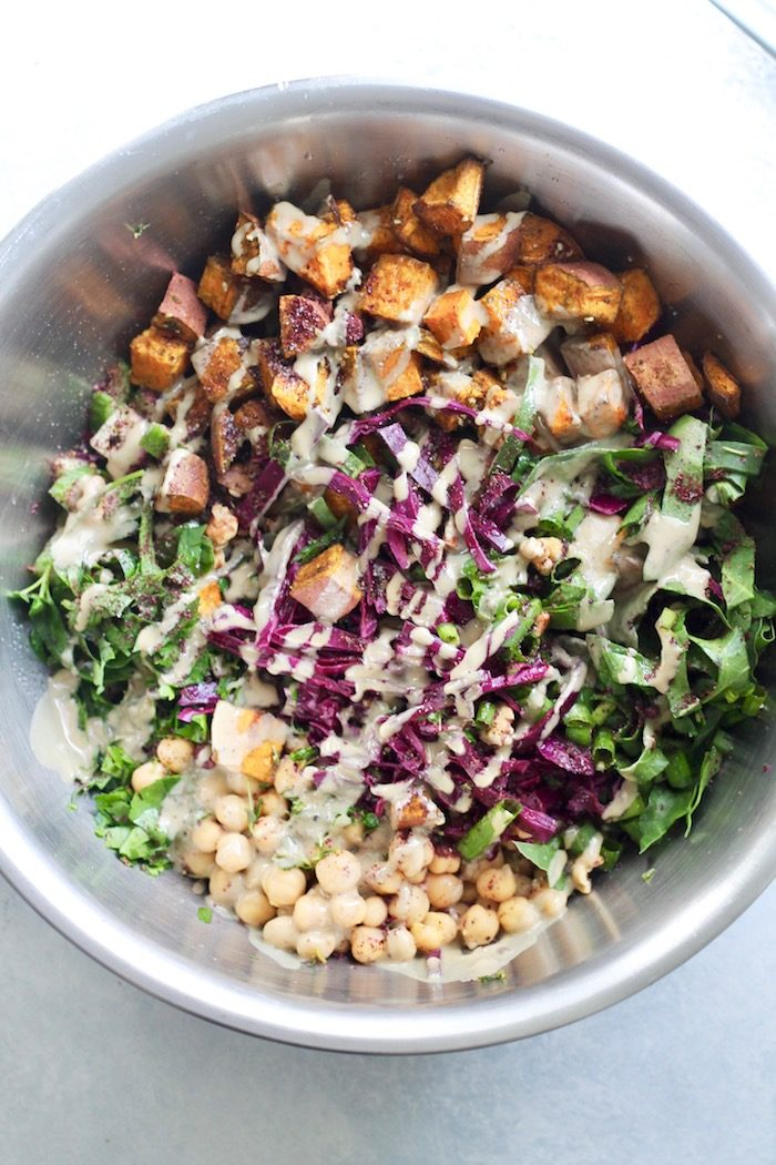 Israeli Power Salad with Za'atar Roasted Sweet Potatoes from Hummusapien