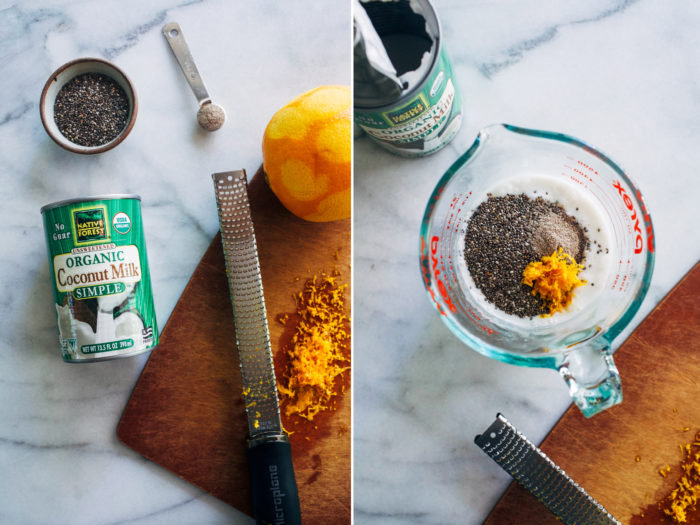 Orange Cardamom Chia Pudding- brightened with orange zest, this chia pudding makes for a refreshing and healthy breakfast that's packed full of protein and healthy omega-3s. #vegan #plantbased #glutenfree #cleaneating