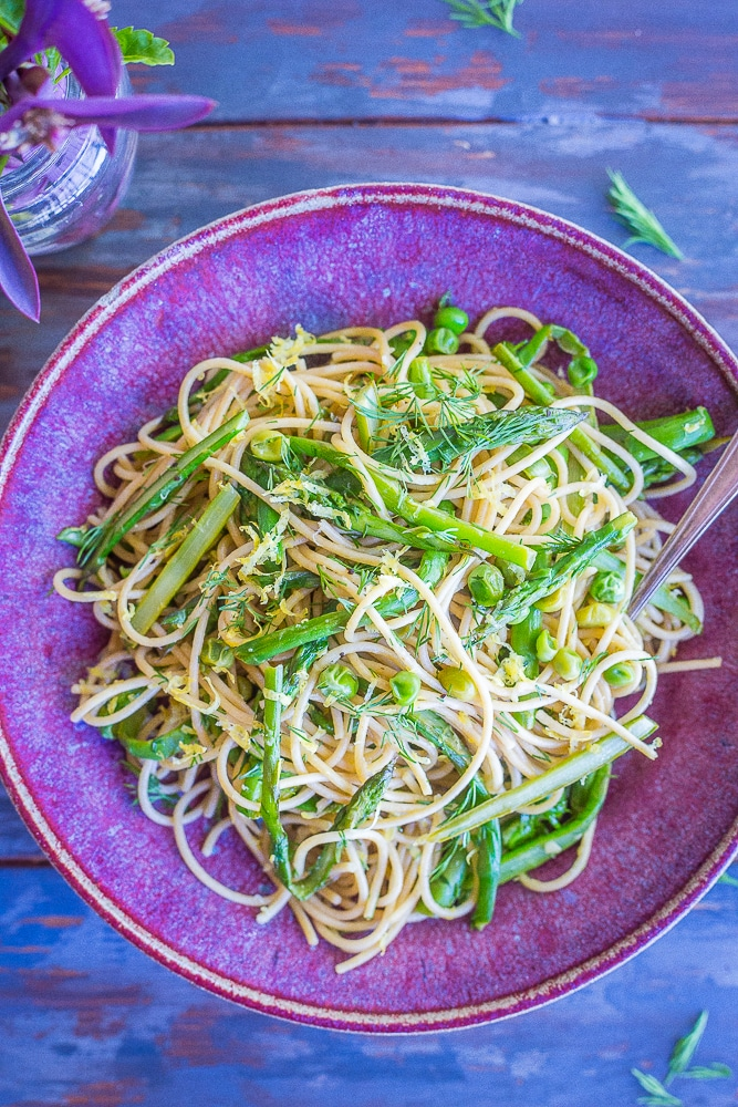 Spring Vegetable Pasta with Lemon and Dill from She Likes Food