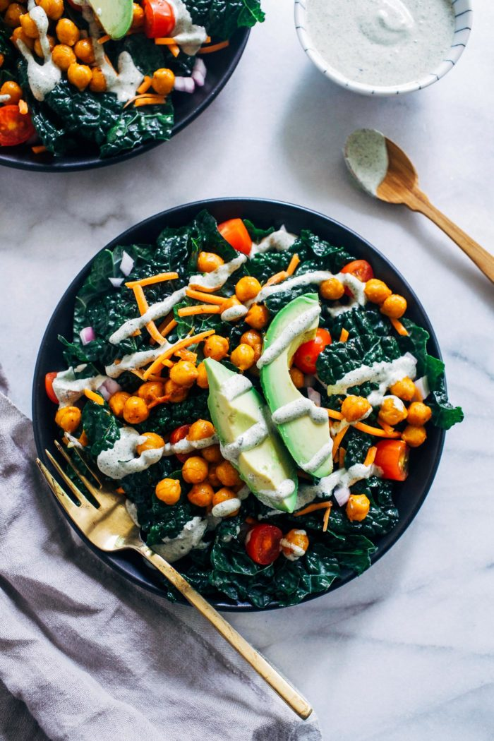 Buffalo Chickpea Kale Salad with Hemp Ranch Dressing from Making Thyme for Health