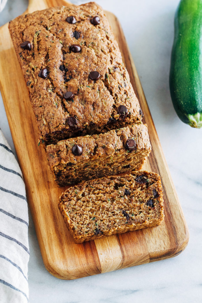 Healthy Vegan Zucchini Bread- whole grain and refined sugar free, this zucchini bread is healthy enough for breakfast and delicious enough for dessert! #plantbased #vegan #wholegrain #healthy #cleaneating