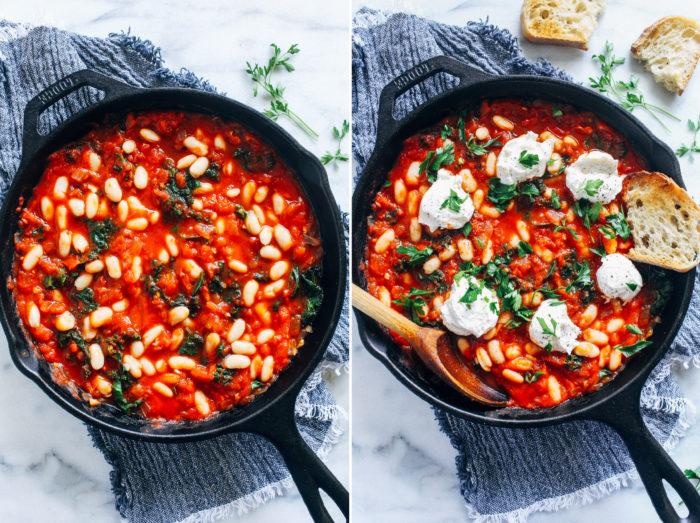 One-Pot Vegan White Bean Shakshuka- perfect for an easy weeknight meal, this vegan shakshuka only takes 30 minutes to make and is bursting with nutrients and flavor! #vegan #plantbased #easydinner #weeknightmeal #healthyrecipes #wfpb