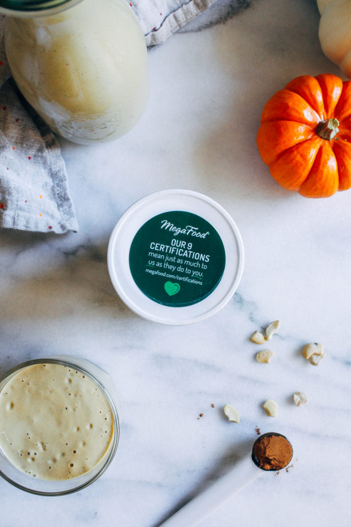 Pumpkin Spice Cashew Milk- an easy homemade nut milk that's so much creamier than anything you can buy at the store. Infused with pumpkin spice and perfect for fall!