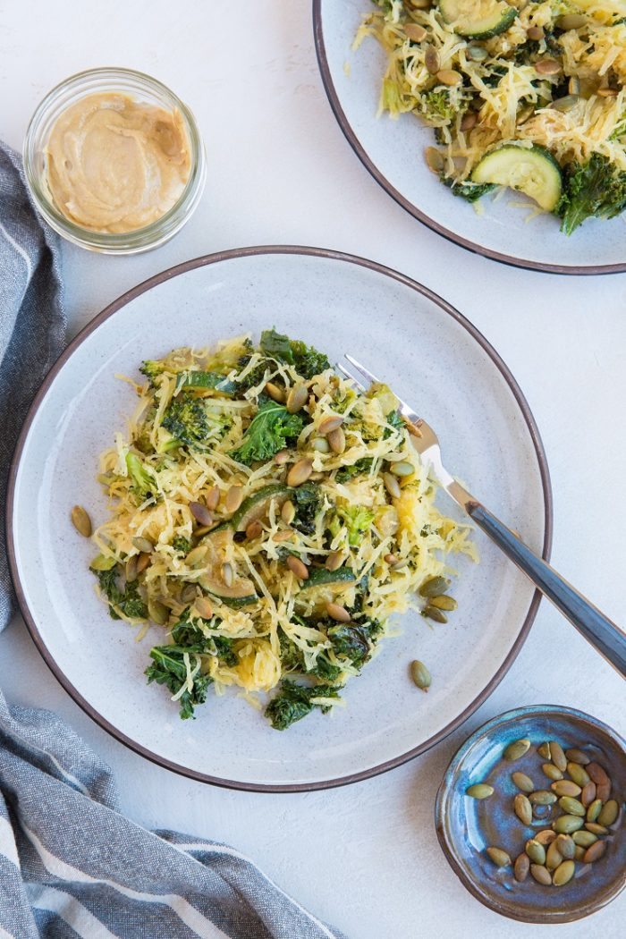 Creamy Tahini Spaghetti Squash with Kale from The Roasted Root