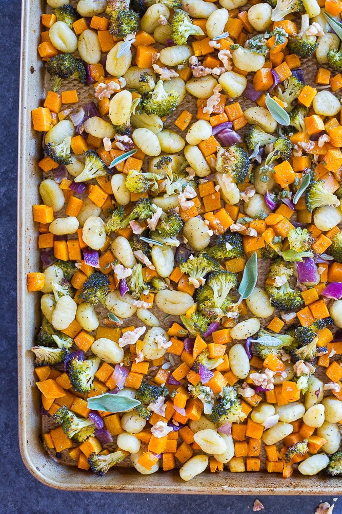 Sheet Pan Roasted Gnocchi Butternut Squash and Broccoli from She Likes Food
