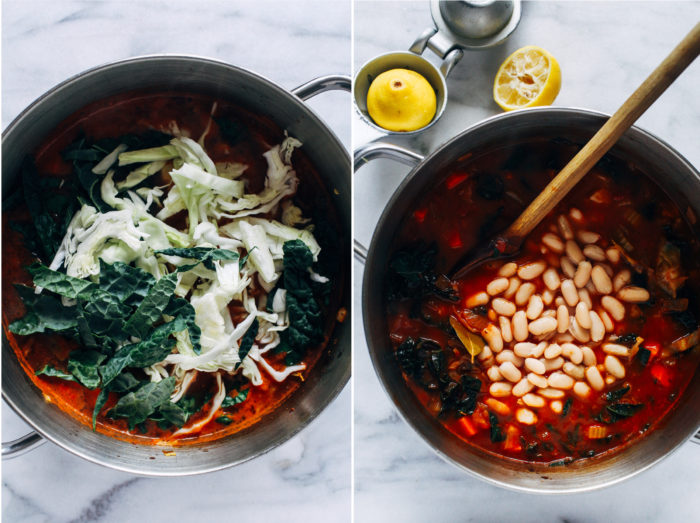 Tuscan White Bean Soup- made with robust cabbage and kale, this hearty soup is satisfying and packed full of antioxidants to keep your immune system strong! (vegan, grain-free)