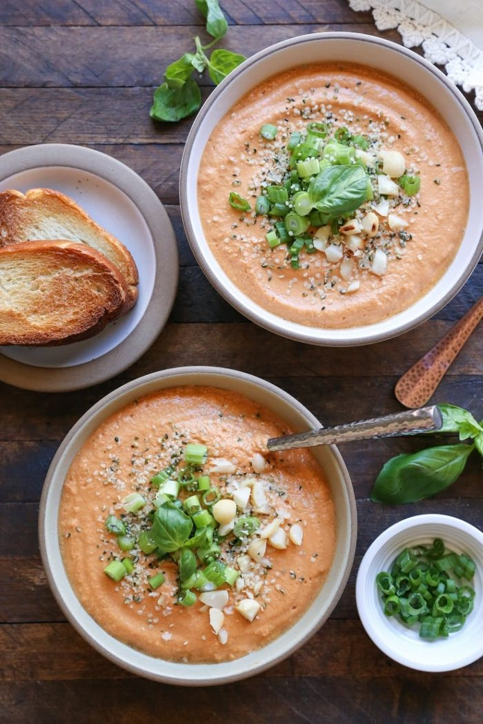 Creamy Vegan Tomato Basil Soup from The Roasted Root