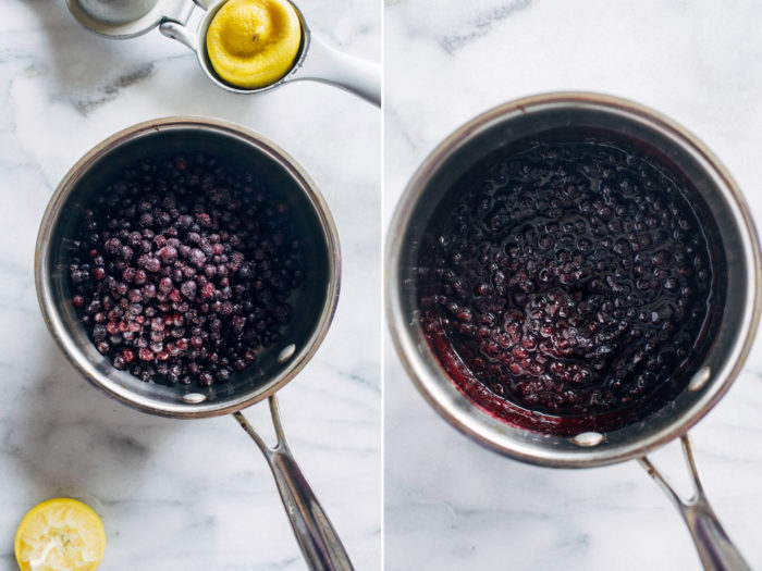 Sugar-free Blueberry Lemon Compote- all you need is just 3 ingredients to make this simple antioxidant-packed treat. Perfect for topping oatmeal, toast, pancakes or waffles!