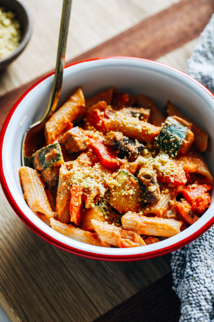 Roasted Vegetable Penne- tossed with a creamy marinara and tender roasted vegetables, this pasta is super satisfying and perfect to serve for the holidays!