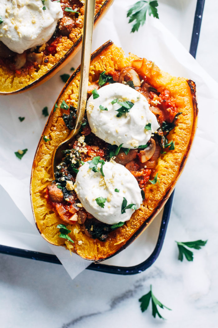 Vegan Spaghetti Squash Lasagna Bowls from Making Thyme for Health