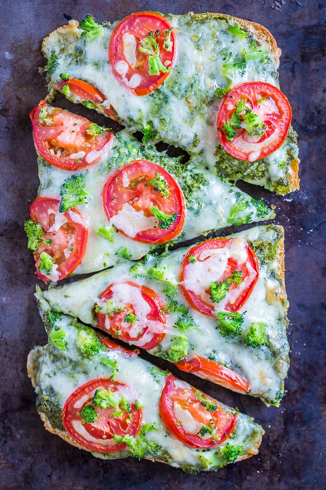 30-Minute Vegetarian French Bread Pizzas from She Likes Food
