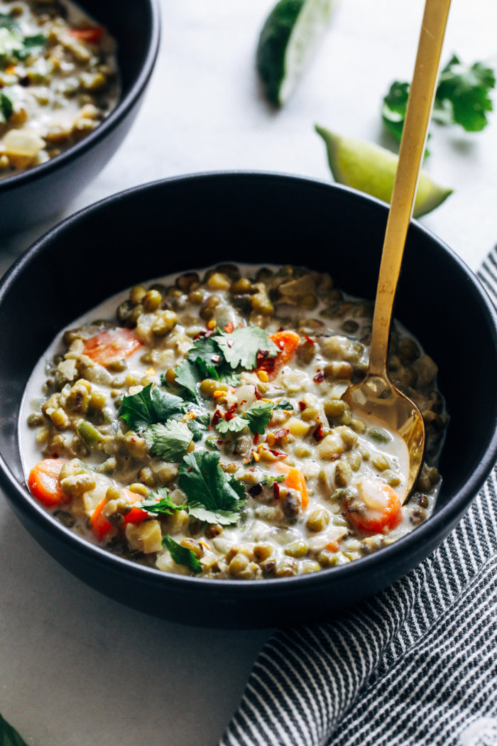 One-Pot Coconut Mung Bean Stew- made with creamy coconut milk, this healthy mung bean stew is simple to make and packed full of comforting flavor. (vegan, gluten-free, grain-free)