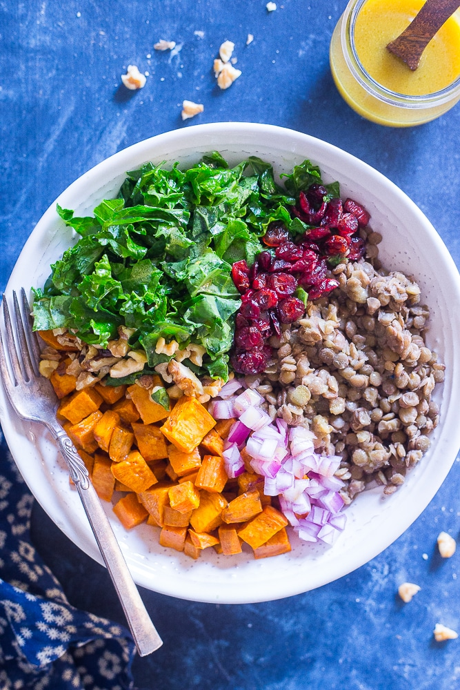 Kale Salad with Sweet Potato and Lentils from She Likes Food
