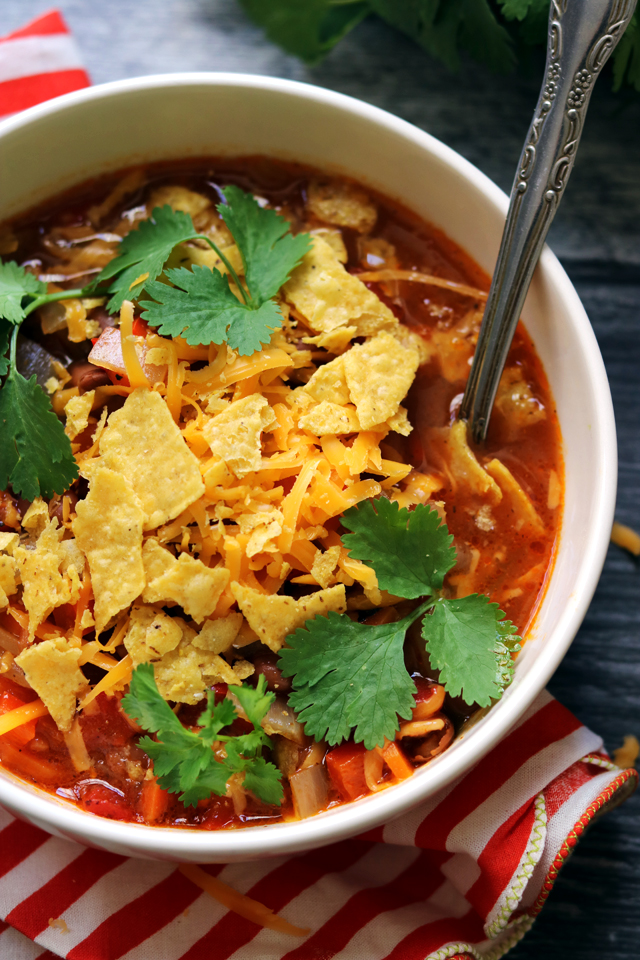 Loaded Pinto Bean and Tortilla Soup from Eats Well With Others