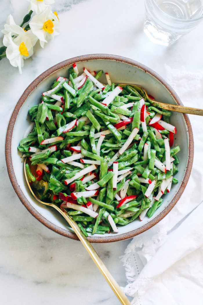 Snap Pea Radish Slaw- made with just 8 ingredients, this spring-inspired slaw is simple and refreshing. (vegan + gluten-free)