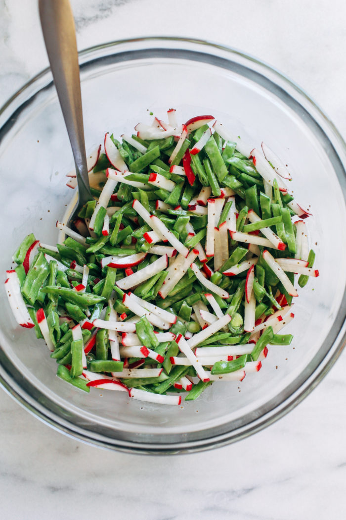 Snap Pea Radish Slaw- made with just 8 ingredients, this spring-inspired slaw is simple and refreshing.