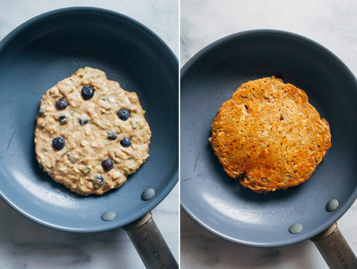 Blueberry Zucchini Oatmeal Pancakes- Made with whole grain flour and rolled oats, these vegan zucchini pancakes are hearty and will keep you full for hours!