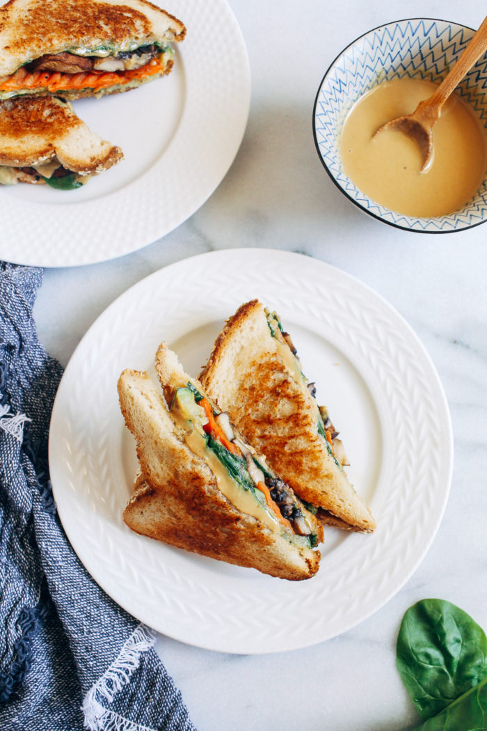 Grilled Vegetable Tahini Sandwiches- a sophisticated, plant-based version of grilled cheese made with fresh veggies and buttery tahini.