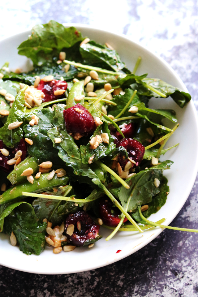 Farmer's Market Salad with Cherries, Sugar Snap Peas, and Feta from Eats Well With Others