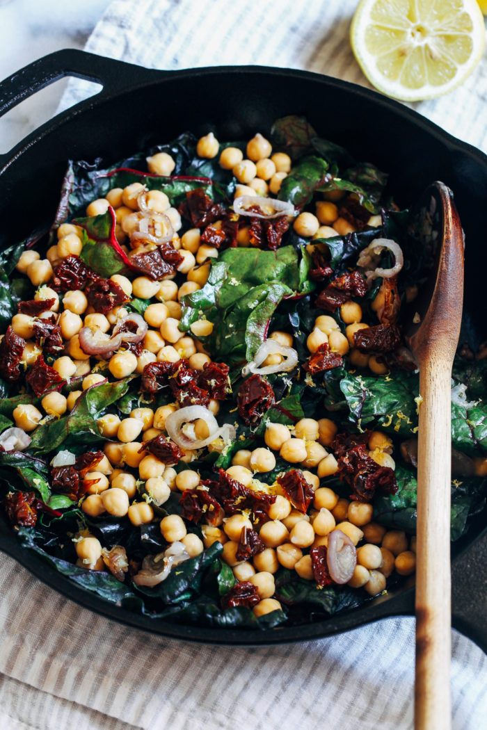 One-Pot Garlicky Chard with Chickpeas- Just 8 ingredients for this simple, one-pot meal that's packed with nutrition and flavor!