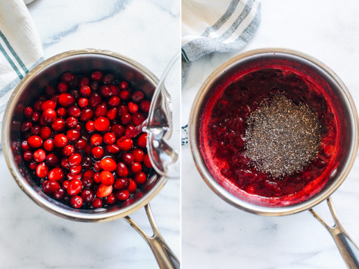 Cranberry Chia Jam- this simple cranberry jam is bursting with antioxidants and healthy fats. Perfect for topping toast, oatmeal, waffles or pancakes!