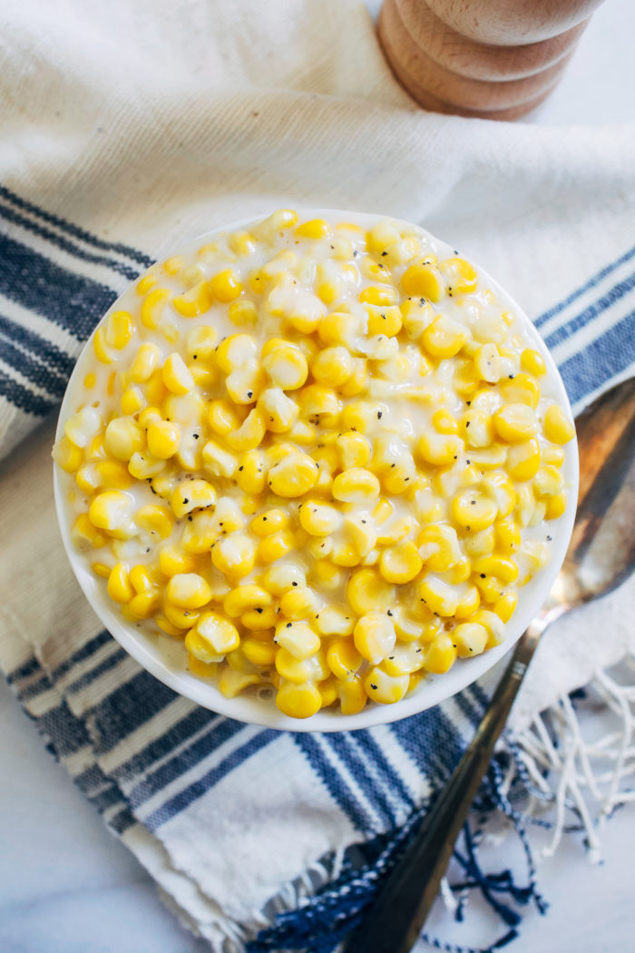 Vegan Creamed Corn- made with just 5 ingredients, this dairy-free version of creamed corn is way better than the canned version and super easy to make!
