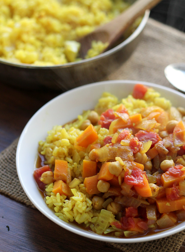 Curried Chickpea Stew with Rice Pilaf from Eats Well With Others