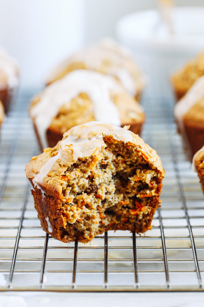 Healthy Carrot Cake Muffins- when you're craving carrot cake but wanting something healthier and easier to make, these whole grain muffins are the perfect solution!  (gluten-free, dairy-free and oil-free)