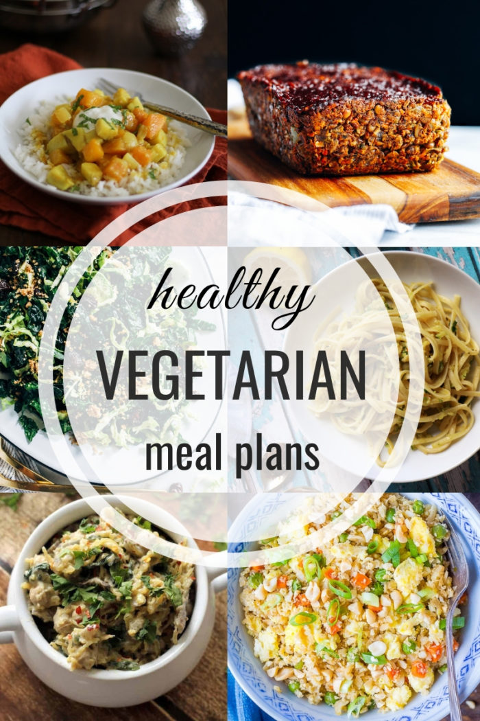 Collage for healthy vegetarian meal plan