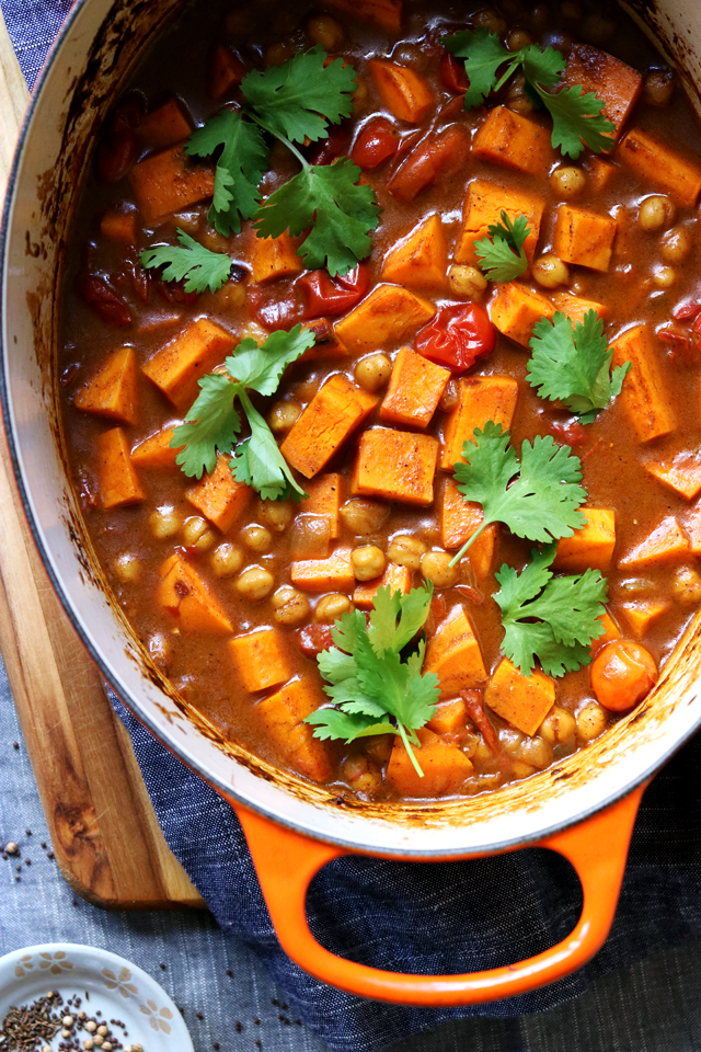Indian Roasted Chickpea and Sweet Potato Curry from Eats Well With Others